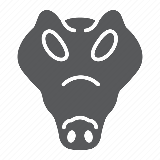 animal, crocodile, head, logo, reptile, wild, zoo icon