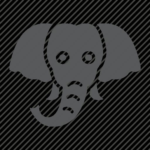 animal, elephant, head, logo, mammal, wild, zoo icon