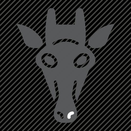 animal, giraffe, head, logo, mammal, wild, zoo icon