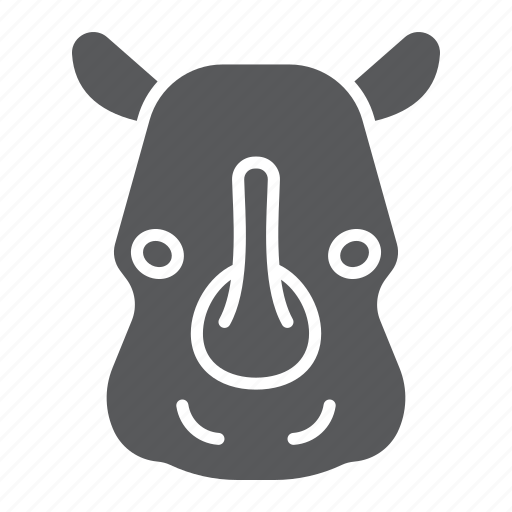 animal, head, logo, mammal, rhinoceros, wild, zoo icon