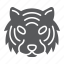 animal, danger, head, logo, tiger, wild, zoo icon