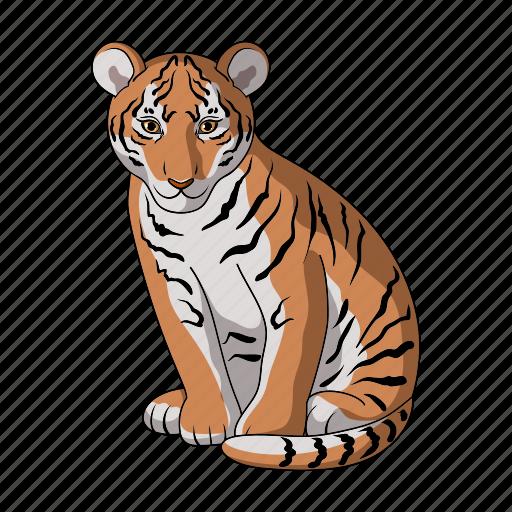 animal, cat, mammal, predator, tiger, wild, zoo icon