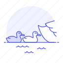 animal, baby, birds, brood, fauna, goose, hatchling, swimming, vertebrate, water, waterfowl icon