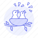 animal, baby, birds, branch, brood, chirp, fauna, hatchling, hungry, nest, tweet, vertebrate icon