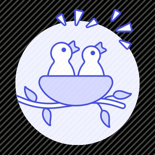 animal, baby, birds, branch, brood, chirp, fauna, hatchling, hungry, nest, tweet, vertebrate icon
