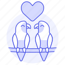 animal, birds, branch, fauna, heart, love, parrots, tree, vertebrate icon