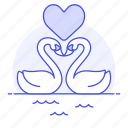 animal, birds, fauna, heart, love, swan, vertebrate, water, waterfowl icon