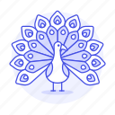 animal, birds, fauna, outstretched, peacock, peafowl, phasianid, plumage, vertebrate, widespread icon