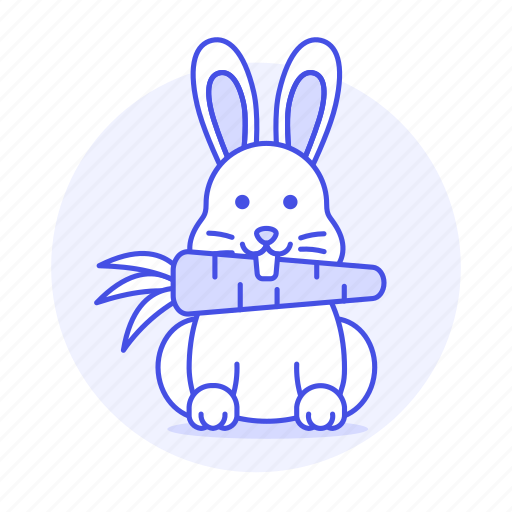animal, carrot, eating, fauna, herbivore, mamals, rabbit, rodent, vertebrate, white icon
