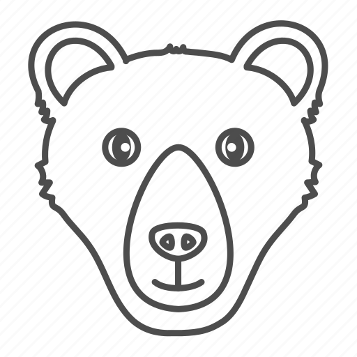 animal, animals, bear, face, forest icon