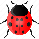 animal, bee, fly, garden, insect, ladybug, red icon
