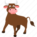 animal, brown, bull, cow, farm icon