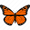 butterfly, dark, fly, insect, monarch butterfly, orange icon