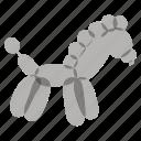 airy, animals, balloons, birthday, gray, horse icon
