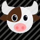 animal, bull, cow, face icon, farm icon