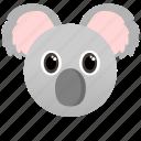 animal, face icon, gray, koala, wild, zoo icon