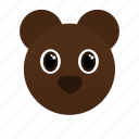 animal, bear, brown, face icon, wild, zoo icon