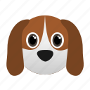 animal, dog, domestic, face icon, pet icon