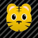 animal, face icon, tiger, wild, yellow, zoo icon