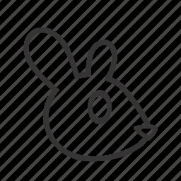 animal, contour, hare, head, pet, rabbit icon