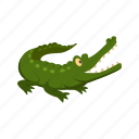 alligator, animal, character, comic, crocodile, green, predator icon
