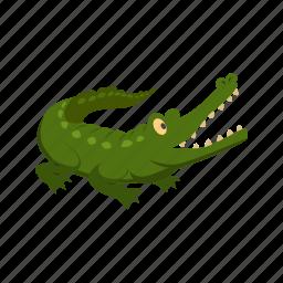 alligator, animal, character, comic, crocodile, green, predator icon