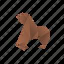 animals, classic, gorilla, origami, paper icon