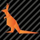 animals, classic, kangaroo, origami, paper icon