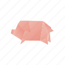 animals, classic, domestic, origami, paper, pig icon