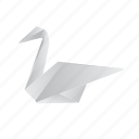 animals, classic, origami, paper, swan icon