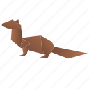 animals, classic, mongoose, origami, paper icon