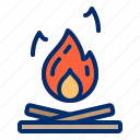 bonfire, camping, fire, hot icon