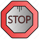block, sign, stop, traffic icon