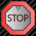 block, sign, stop, traffic icon