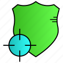 protection, security, shield, target icon