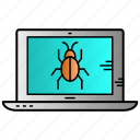 bug, computer, infected, laptop, virus icon