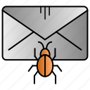 bug, infested, mail, message, virus icon