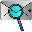 email, letter, message, scaning, search icon