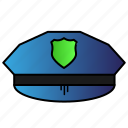 cap, hat, law, officer, police icon