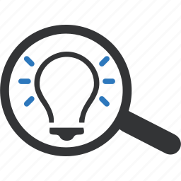 find, idea, magnifying glass, scan, search, solution icon