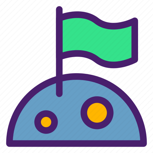 astronomy, flag, galaxy, landed, moon, space, universe icon