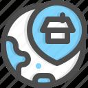 address, adress, globe, location, map, pin, property icon