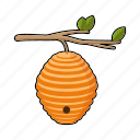 apiary, beehive, beekeeping, branch, hive, wild icon