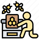 apiarist, apiculture, beekeeper, hive, honeycomb icon