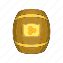 barrel, cartoon, dessert, food, honey, sign, sweet icon