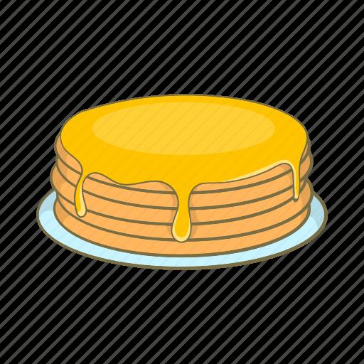 breakfast, cartoon, dessert, food, honey, pancakes, sign icon