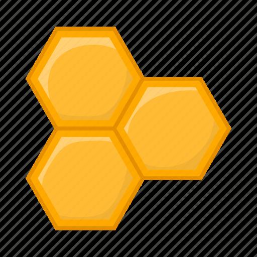 bee, cartoon, hexagon, honey, honeycomb, product, sign icon