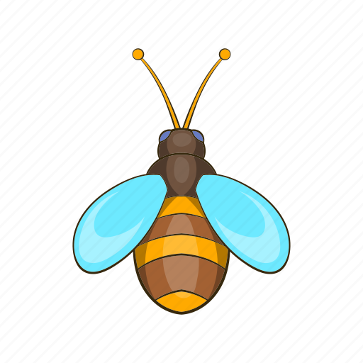 bee, cartoon, fly, honey, insect, sign, yellow icon