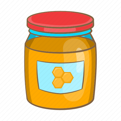 cartoon, food, glass, honey, jar, sign, sweet icon