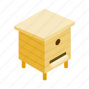 bee, beehive, box, hive, isometric, wood, wooden icon